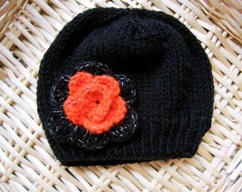 Black and Orange Beanie for Girls. Little Girl's Beanie. Halloween Beanie. Hand knitted. Made to order Beanies