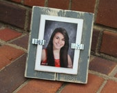 "Picture Frame - Distressed Wood - Holds a School Picture 2.5"" x 3.5"" - Gray and White - Stand Up"