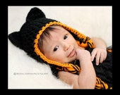 Black Cat Earflap hat- Made to Order- Any size