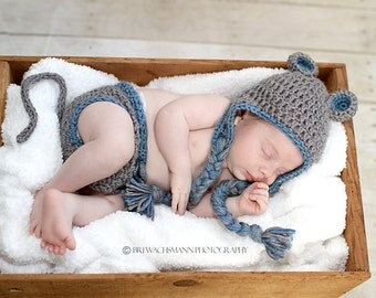 Squeakingly Cute Mouse Hat and diaper cover set- Made to Order- Any size