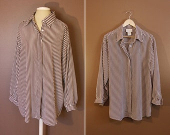 Brown and White Striped Maggie Barnes Plus Size 1980s Button Up
