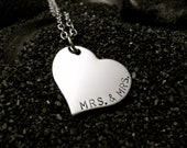 Mrs and Mrs Hand Stamped Stainless Steel Heart