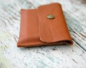 Upcycled Leather Credit Card Wallet, Business Card Holder, Nutmeg, Men or Women