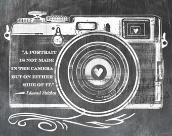 Edward Steichen Quote - Retro Camera - Horizontal Print