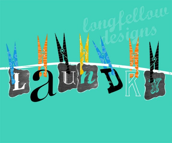 Laundry Room - Clothes Line Typography Art