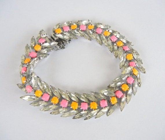 Vintage 1950s One Of A Kind Hand Painted Neon Orange and Pink Rhinestone Bracelet