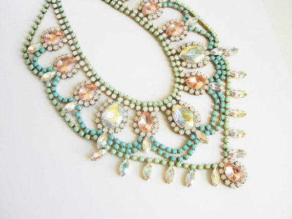 Vintage 1950s Bold Pastel Rhinestone Bib Necklace - One Of  A Kind
