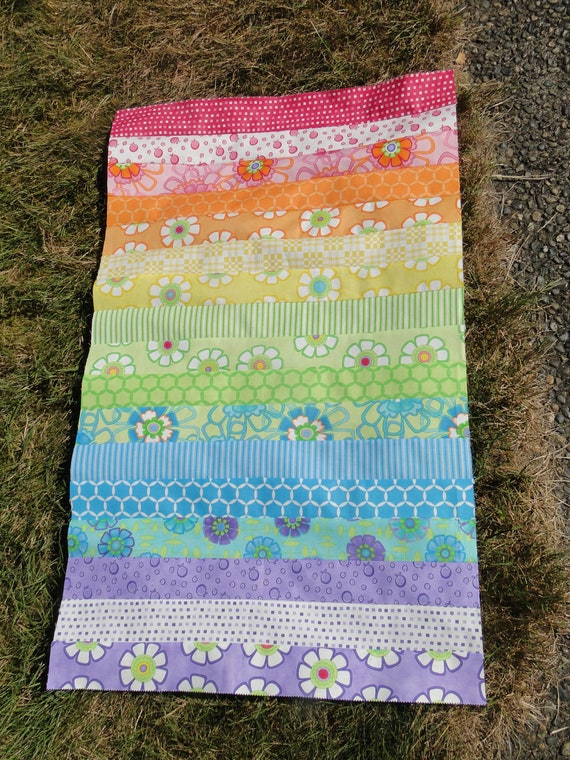 UNfinished Quilt Top Good Morning by Me and My Sister MODA-All Cotton-Rainbow Flowers Great Baby Toddler Crib Quilt Blanket SALE