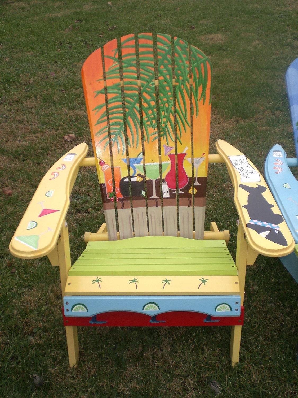 Hand painted Adirondack Yellow Chair Yellow Orange Sunset with