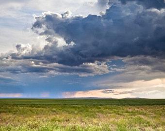 Summer Storm Rain Clouds Landscape - 16x20 Fine Art Canvas Gallery Wrap - Home Decor  - Blue Green Yellow