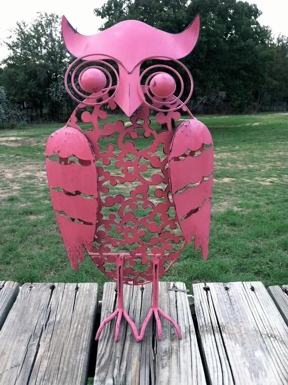 Hoot Hoot Tall Pink Metal Owl / Whimsical