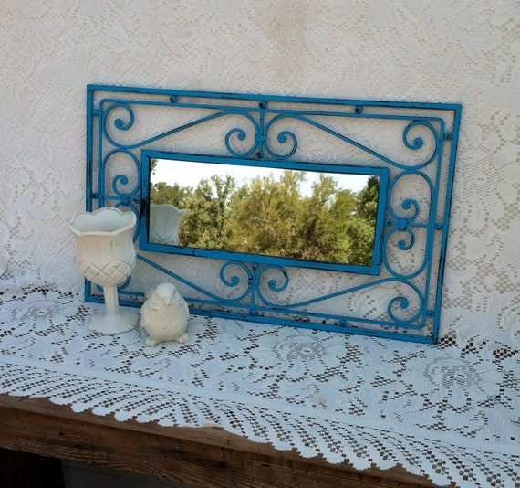 Teal Blue Country French Wall Mirror / Cast Iron Wall Mirror / Cottage Decor