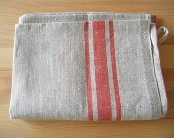 Natural linen/ pure flax towel, guest towel, small bath towel,  for hands or face. Gray Ecru with red stripes.