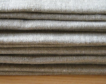 Set of 8 Natural Linen Placemats Rectangular, Double Fabric. Table, Dining Linens, Gray Ecru. Rustic Natural Eco Gray