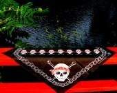 Vintage Bandana Bandanna Aye Matey 1980s Pirate Skull & Crossbones Jolly Roger Black Red White Biker Rocker Head Wrap Scarf 80s Deadstock US