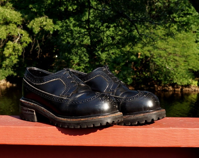 Black Leather Brogues Steel Toe Shoes Muro Welt Chunky Soles Size 5 Mexico -6.5 US Men -8 US Women Rockabilly Punk Shoes Rockin Retro Shoes