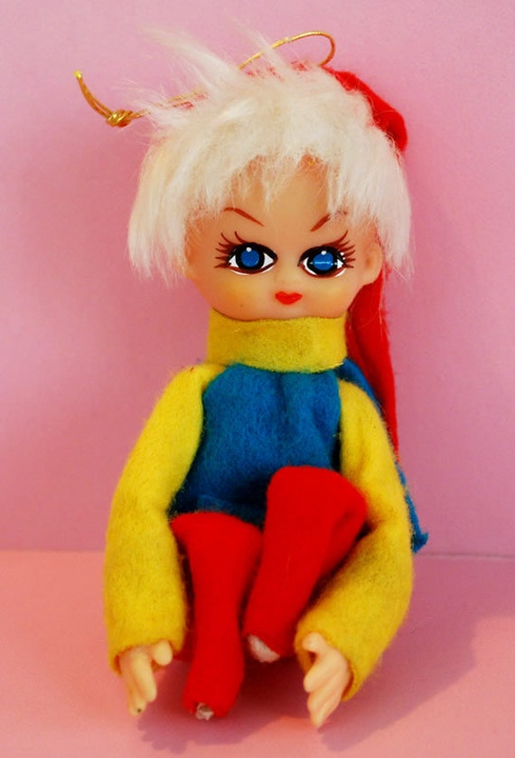 Cute Vintage Mod Knee-Hugger Elf/Sprite Christmas Tree Ornament Japan