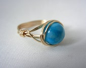 Crazy Agate Jewelry, 14kt Gold Fill Wire Wrapped Ring, Blue Stone Ring