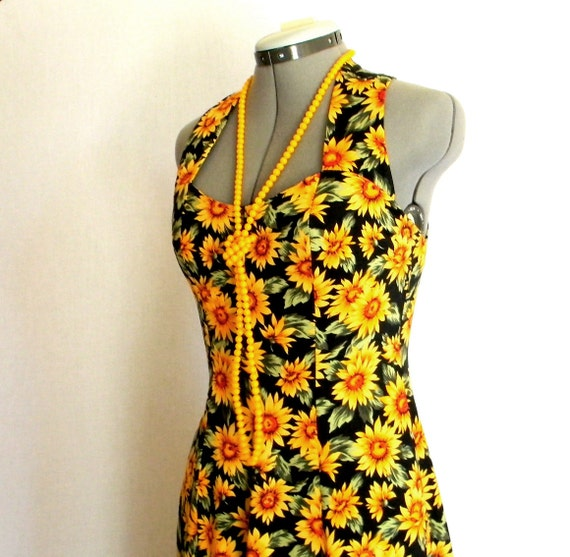 Vintage Maxi Dress SALE Sundress Floral Dress Summer Dress Size 6 Medium Yellow Black Green Sunflower. Cirsscross Straps. Mad Men Fashion