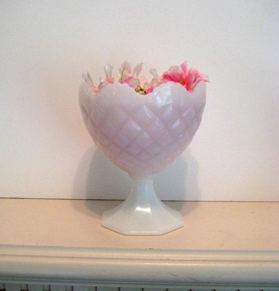 Vintage Milk Glass Vase, Napco Pedestal flower vase, Crosshatch pattern, wedding display, white decor, 5 x 6  inch tall