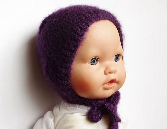 Newborn hat bonnet knitted baby hat purple newborn photo prop