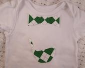 No Sew Iron-on Green and White Argyle Baby Bow Tie Applique & Golf Club Applique