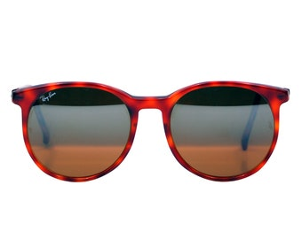 Vintage Ray Ban  Bausch and Lomb Round Style C Mirrored Tortoise Sunglasses.