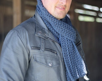 Mens Blue Scarf, Crochet Mens Scarf, Guys Crochet Scarf, Ribbed Scarf, Mens Gift Under 30, Classic Mens Scarf, Guys Gift, Long Crochet Scarf