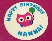 "8"" Happy Birthday Owl and Balloon Cake Topper"