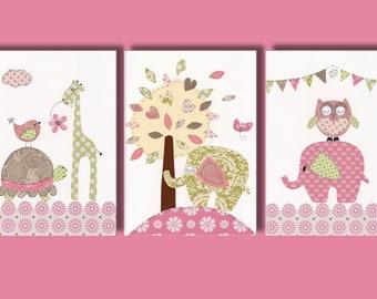 "Nursery Art Print, Nursery Elephant Decor, Baby Girls Room Wall Art Print, Pink, Green 11x14"" Print, Thoughtful Spot Set Of 3 Prints"