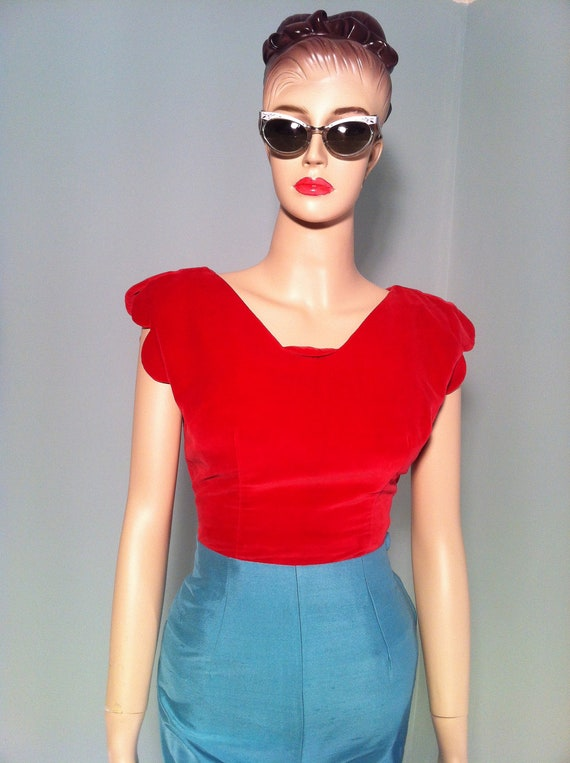 Vintage 50s Mexican style American designer Jo Collins velvet top with unusual sleeves