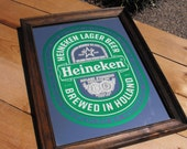 Reserved for JP - Vintage Heineken Beer Mirror - Father's Day Gifts, Men, Guys, Dudes, Fathers, Dads, Man Cave Decor, Home, Mirrors
