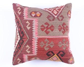 "Modern Bohemian Home Decor,Turkish Kilim Pillow Cover 16"" X 16"",Tribal Pillow,Kilim Ebroidery Pillow,Vintage Kilim Pillow, riot of color,"