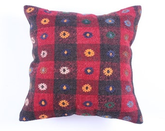 "Modern Bohemian Home Decor,Turkish Kilim Pillow Cover 16"" X 16"",Tribal Pillow,Kilim Ebroidery Pillow,Vintage Kilim Pillow, riot of color"
