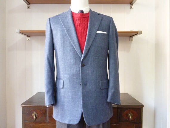 Vintage Andover Shop Mid-Blue Wool, Silk, and Linen Blend Sport Coat 42 L. Made in Canada.