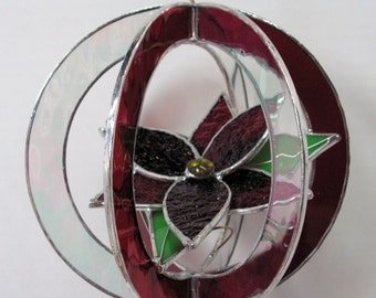 Poinsettia Flower in Stained Glass Whirl Christmas Decoration
