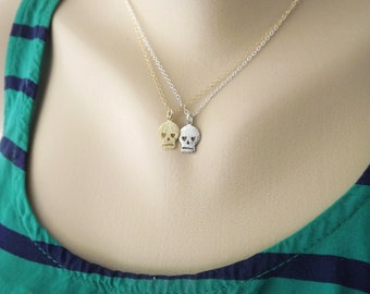 Tiny Skull Necklace Available in Gold or Silver, Dainty Jewelry, Gifts for Her