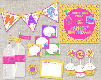 Pink Music Party Instant Download Printable d.i.y. Party
