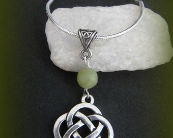 Connemara Marble & Silver Celtic Knot Irish Necklace