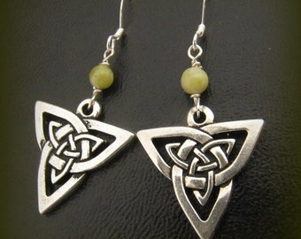 Connemara Marble and Silver Celtic Trinity Knot Earrings