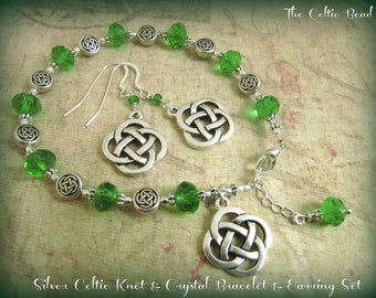 Silver Celtic Knot & Green Crystal Bracelet and Matching Earring Set