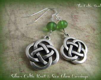 Silver Celtic Knot & Green Sea Glass Earrings