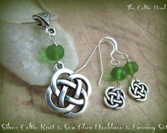Silver Celtic Knot & Green Sea Glass Necklace and Matching Earrings