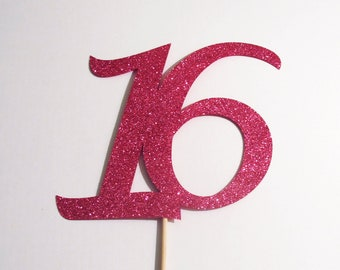 Glittered Sweet 16 Sign