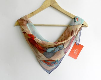 Paris. Pure silk scarf, hand painted in cold batik technique. Ready to ship.