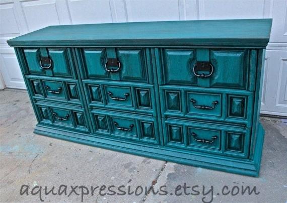 Gypsy Teal Vintage Dresser/ Bright Buffet/ By AquaXpressions