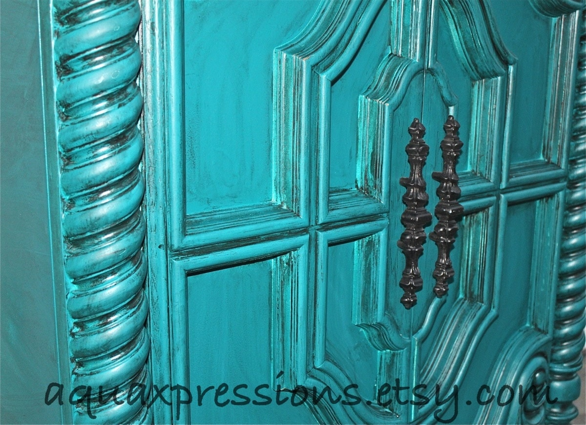 Vintage Armoire Gypsy Teal Bedroom Furniture By Aquaxpressions