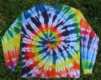 Rainbow Spiral Tie-dye Long-sleeved Tee Shirt for Kids and Adults