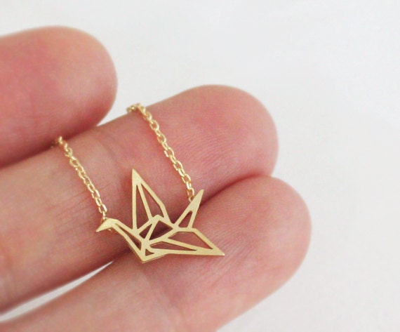Origami crane pendant necklace crane folded paper crane like this item mozeypictures Image collections