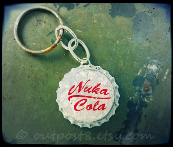 Fallout New Vegas inspired Nuka Cola Victory bottle cap keychain. The original. Featured in EGM.